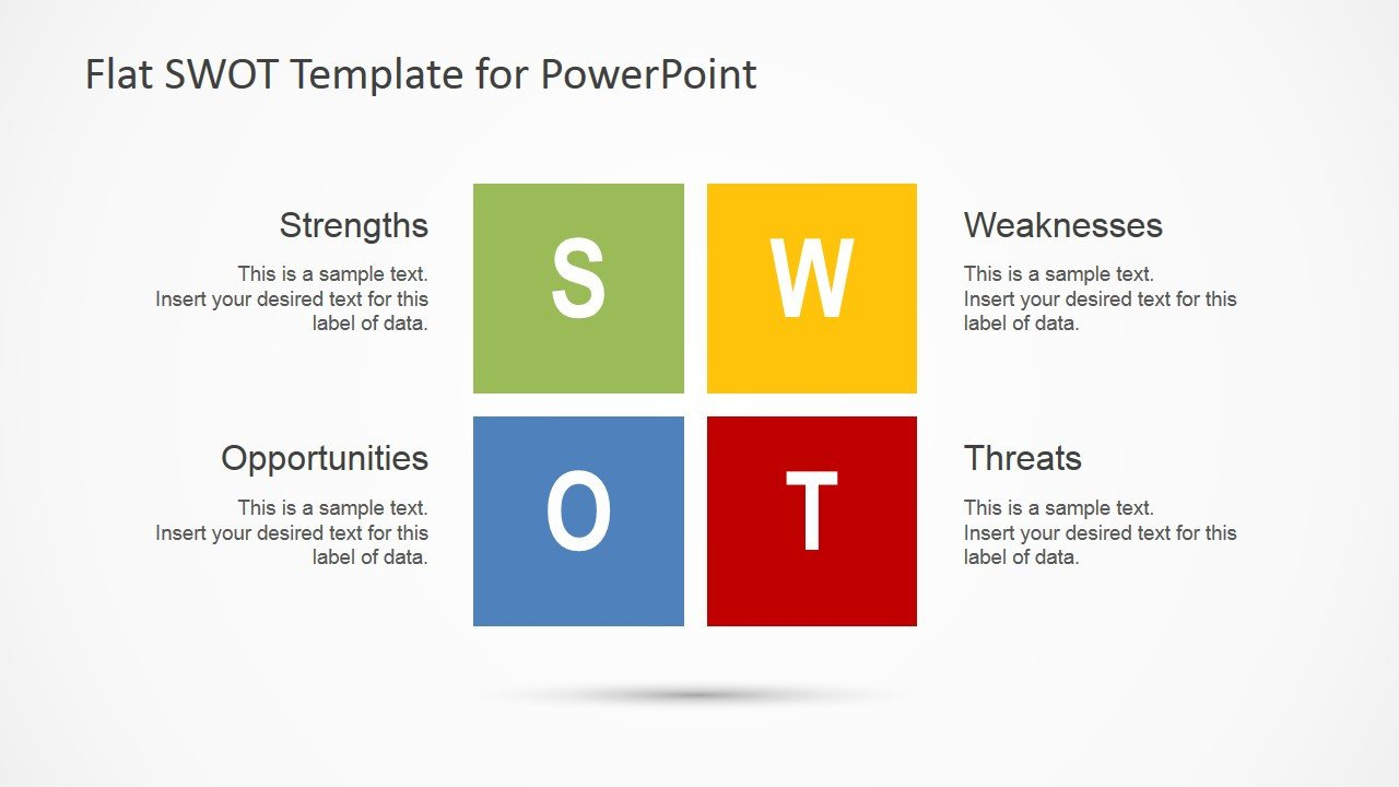 Swot Analysis Template Ppt Flat Swot Analysis Design for Powerpoint Slidemodel