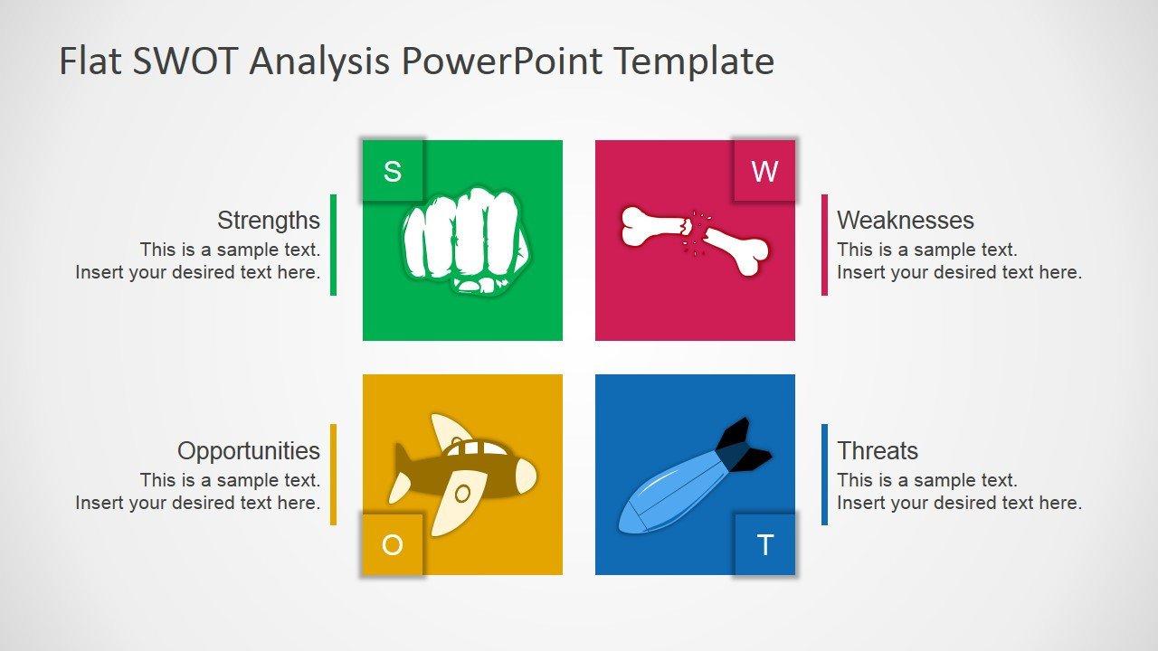 Swot Analysis Template Ppt Free Flat Swot Analysis Presentation Template Slidemodel