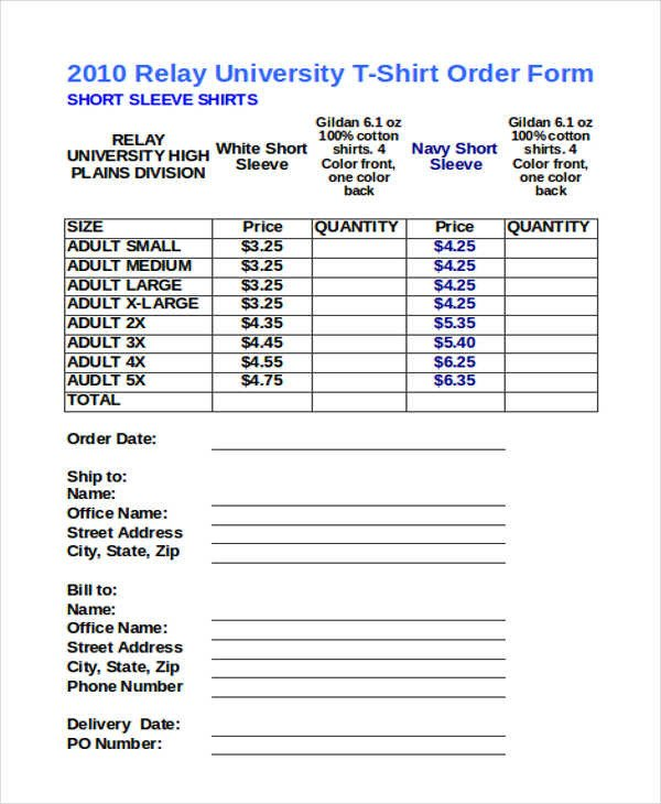T Shirt order form 12 T Shirt order forms Free Sample Example format