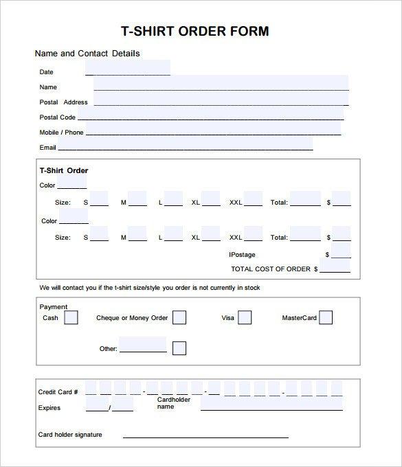 T Shirt order form 26 T Shirt order form Templates Pdf Doc
