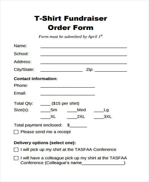 T Shirt order form Blank order forms