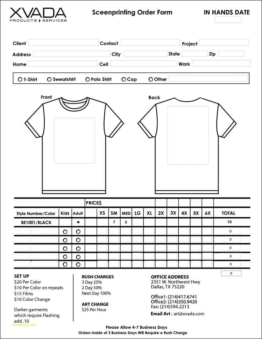 T Shirt order form Printable T Shirt order form Template