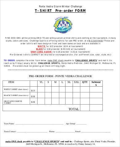 T Shirt order form T Shirt order form Sample 12 Examples In Word Pdf