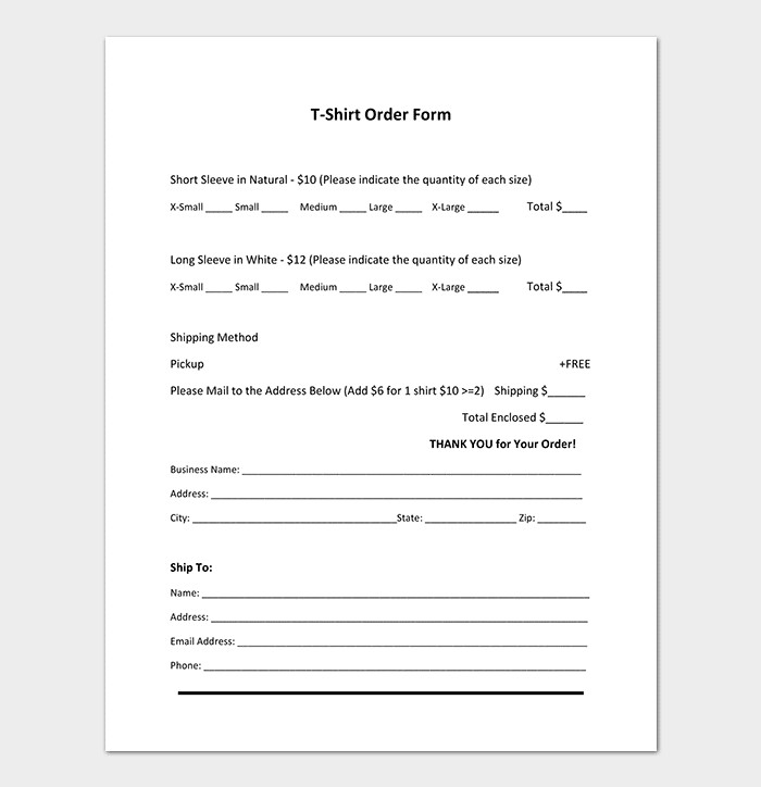 T Shirt order form T Shirt order form Template 17 Word Excel Pdf