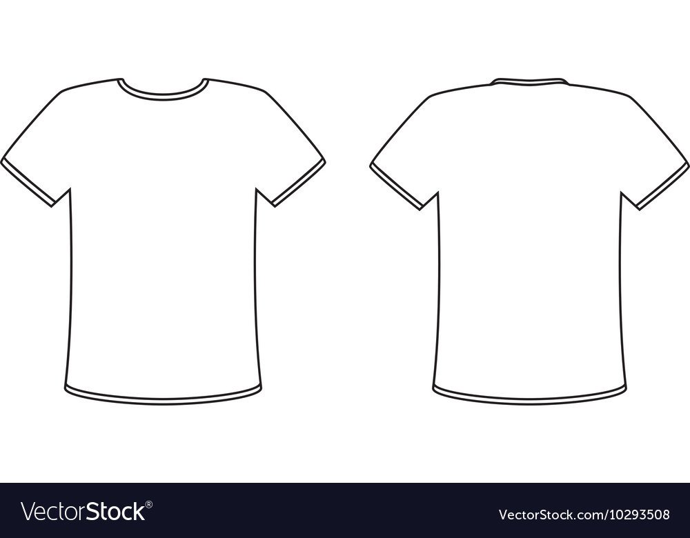 T Shirt Template Design Blank Front and Back T Shirt Design Template Set Vector Image