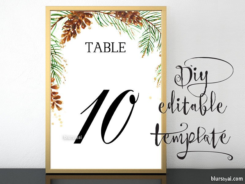 Table Number Template Word 5x7 Printable Table Numbers Template for Word