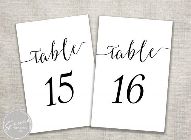 Table Number Template Word Black Slant Table Numbers Printable Calligraphy Style