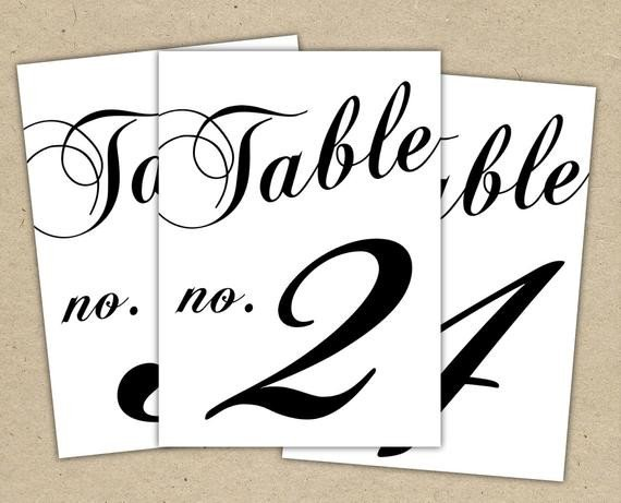 Table Number Template Word Black Table Numbers Printable Template Instant Download