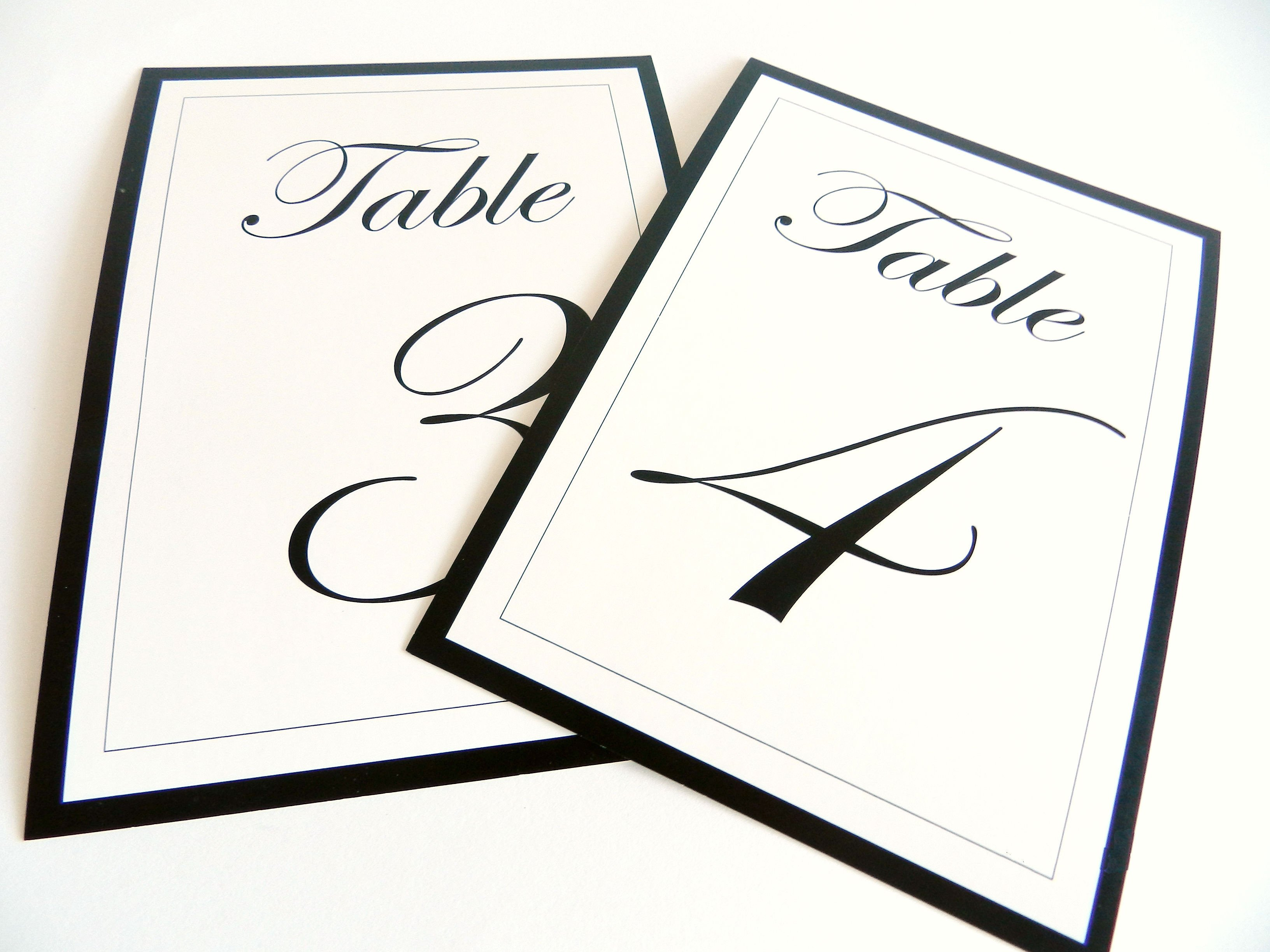Table Number Template Word [etsy Sale] Flat Wedding Table Numbers