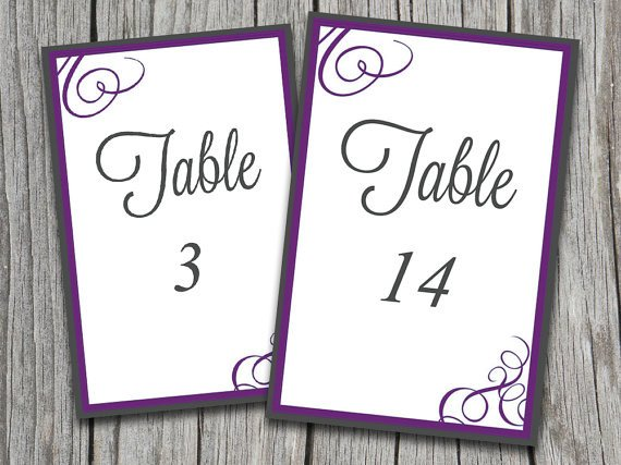 "Table Number Template Word Instant Download Bordered Flourish ""amy"" Table Number"