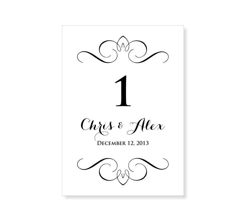 Table Number Template Word Instant Download Wedding Table Number Template by 43lucy