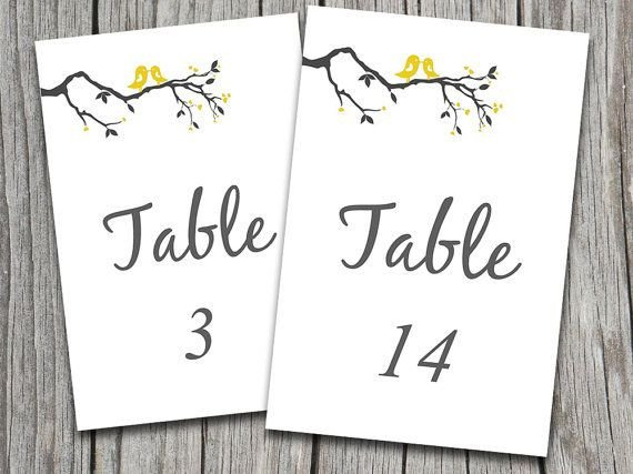 Table Number Template Word Love Birds Heart Tree Branch Wedding Table Numbers