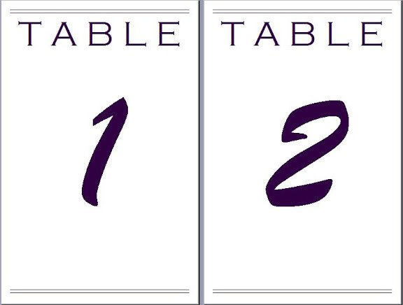 Table Number Template Word Paper Eeyore4771