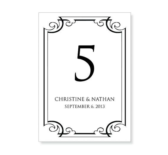 Table Number Template Word Table Number Template Printable Instant Download for
