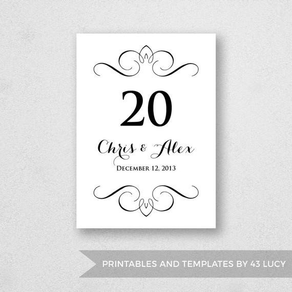 Table Number Template Word Table Number Template Printable Instant Download for Word