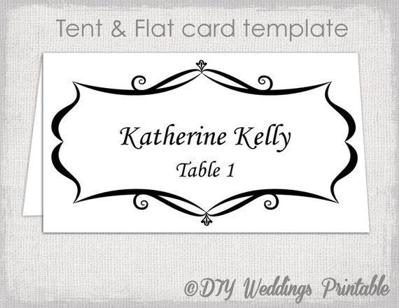 Table Tent Cards Template Free Place Card Template Tent and Flat Name Card Templates