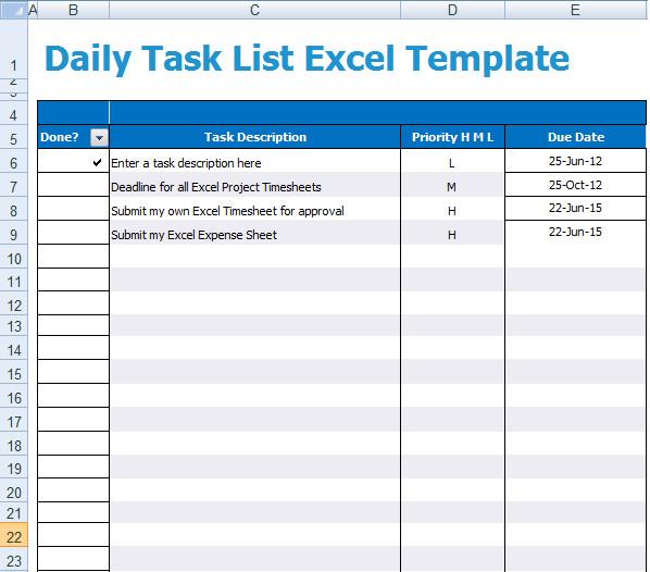 Task Checklist Template Excel Daily Task List Excel Template Xls Microsoft Excel Templates