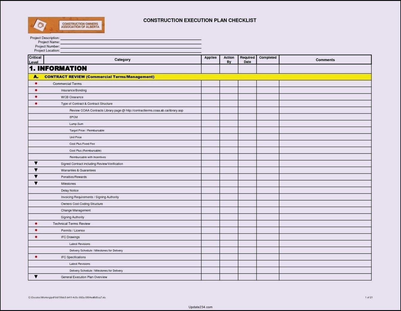 Task Checklist Template Excel Project Checklist Template Excel