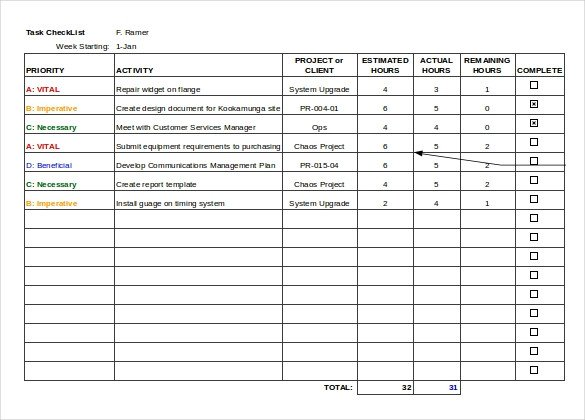Task Checklist Template Excel Task Checklist Template 7 Free Word Excel Pdf