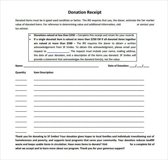 Tax Donation form Template 4 Tax Donation Receipt Templates Excel Xlts