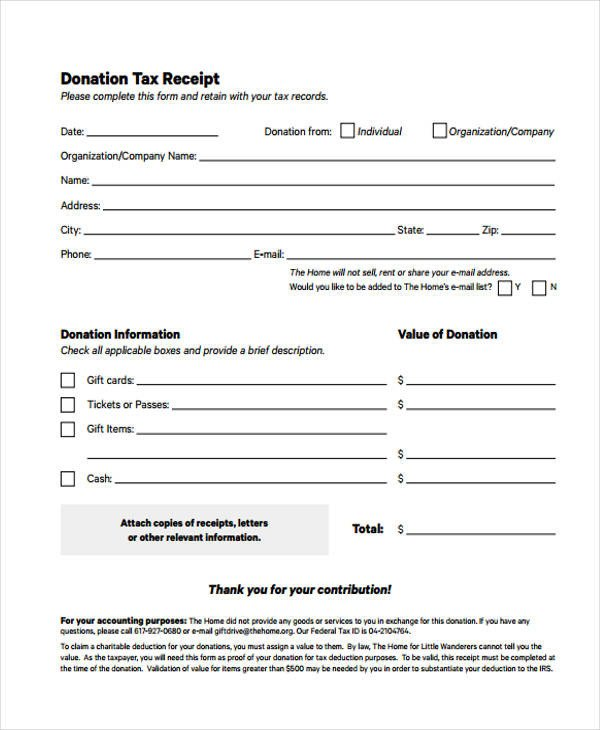 Tax Donation form Template Printable Receipt forms 41 Free Documents In Word Pdf