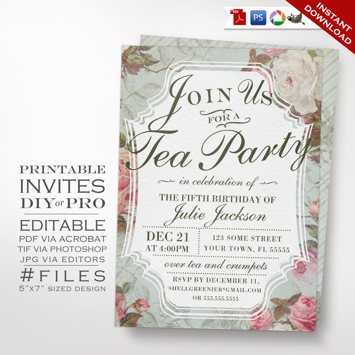 Tea Party Invitation Template Birthday Tea Party Invitation Template Vintage Rose Tea