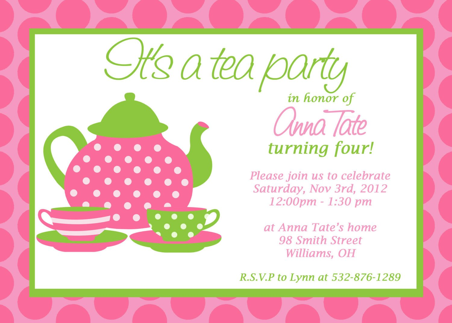 Tea Party Invitation Template Custom Printable Tea Party Invitation