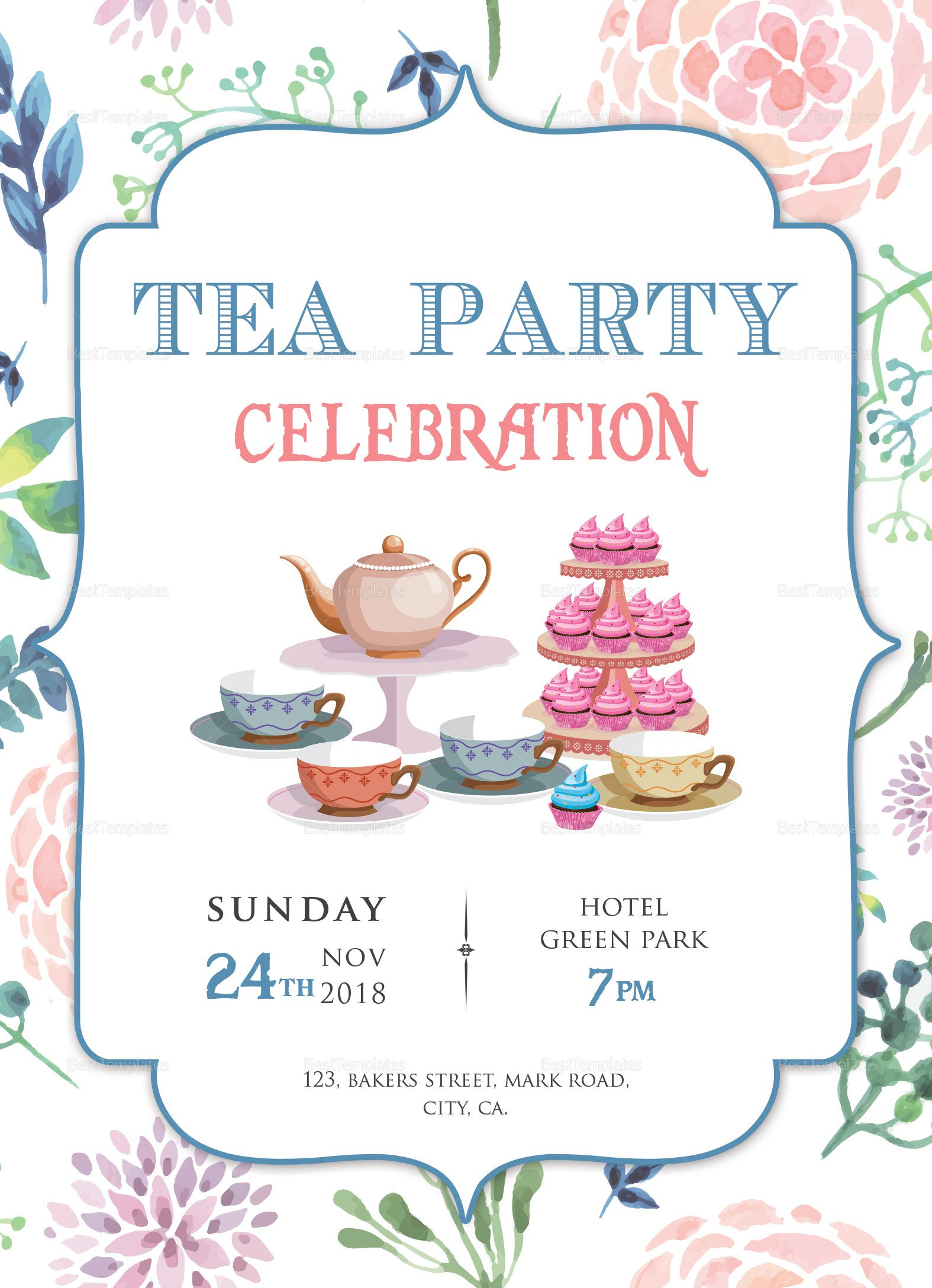 Tea Party Invitation Template Elegant Tea Party Invitation Design Template In Word Psd