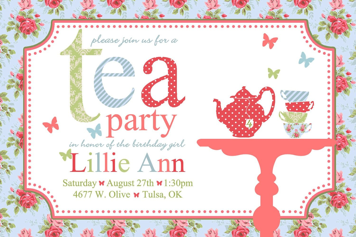 Tea Party Invitation Template Free afternoon Tea Invitation Template