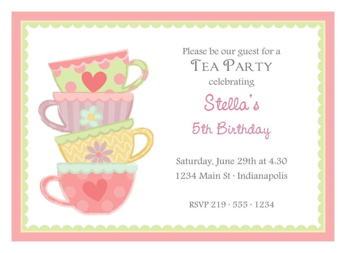 Tea Party Invitation Template Free afternoon Tea Party Invitation Template