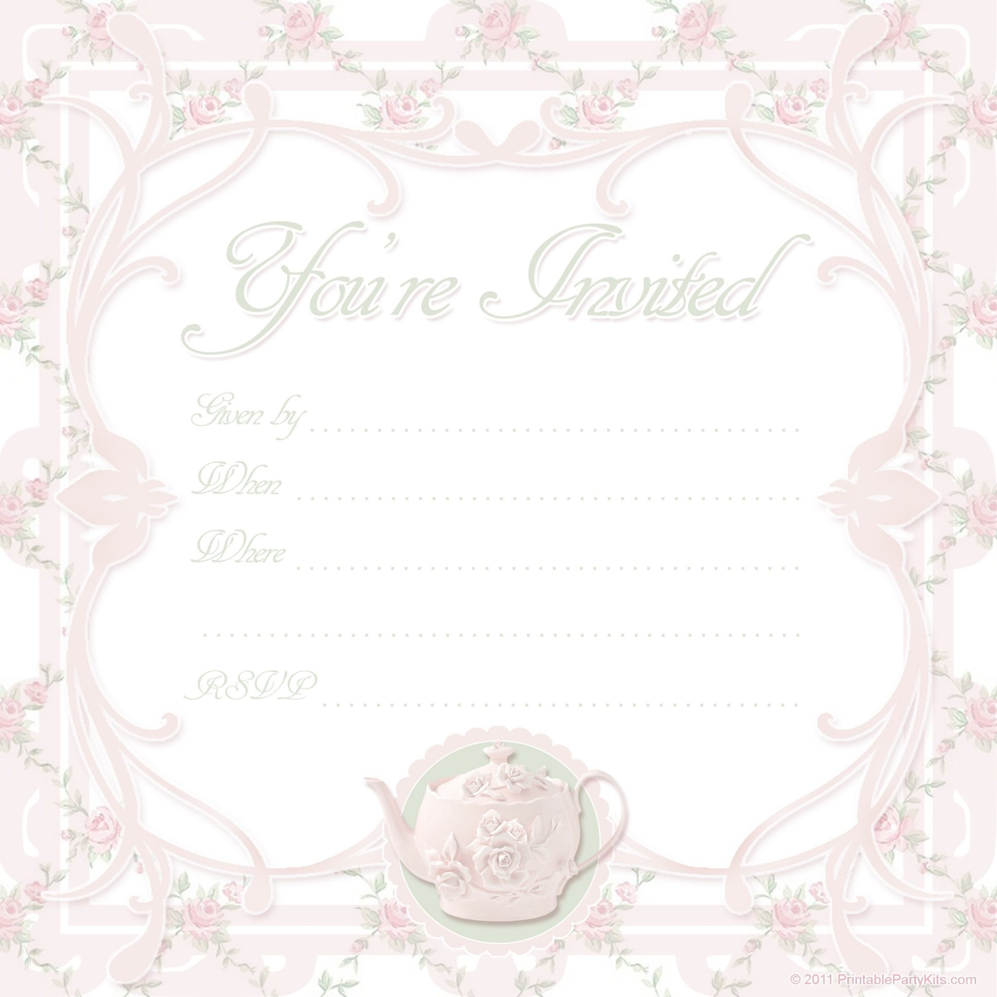 Tea Party Invitation Template Free Printable Tea Party Invite Template