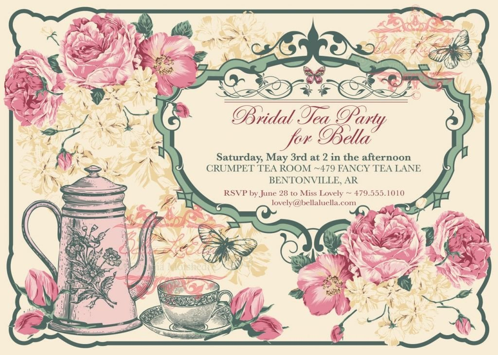 Tea Party Invitation Template Free Vintage Tea Party Invitation Template