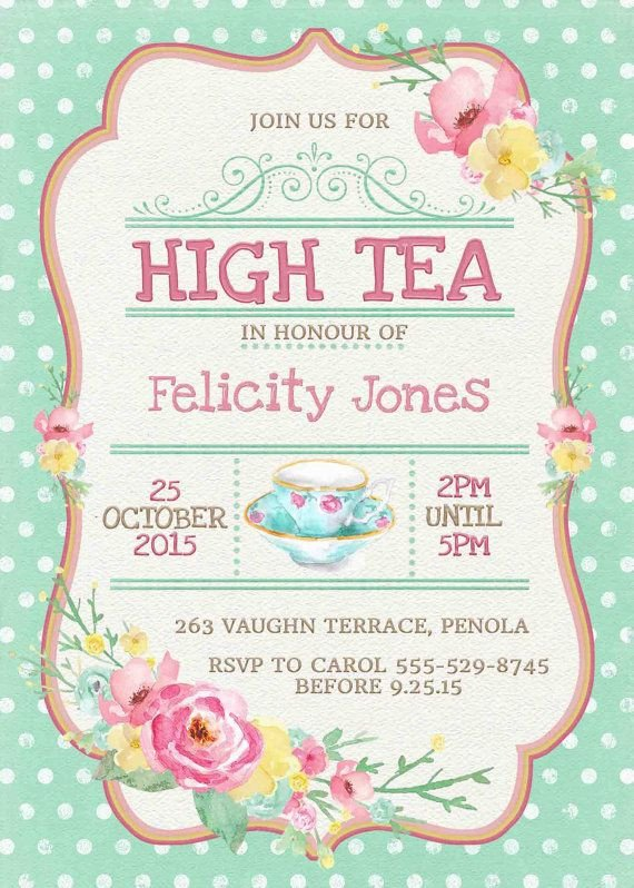 Tea Party Invitation Template High Tea Invitation Printable for Bridal by