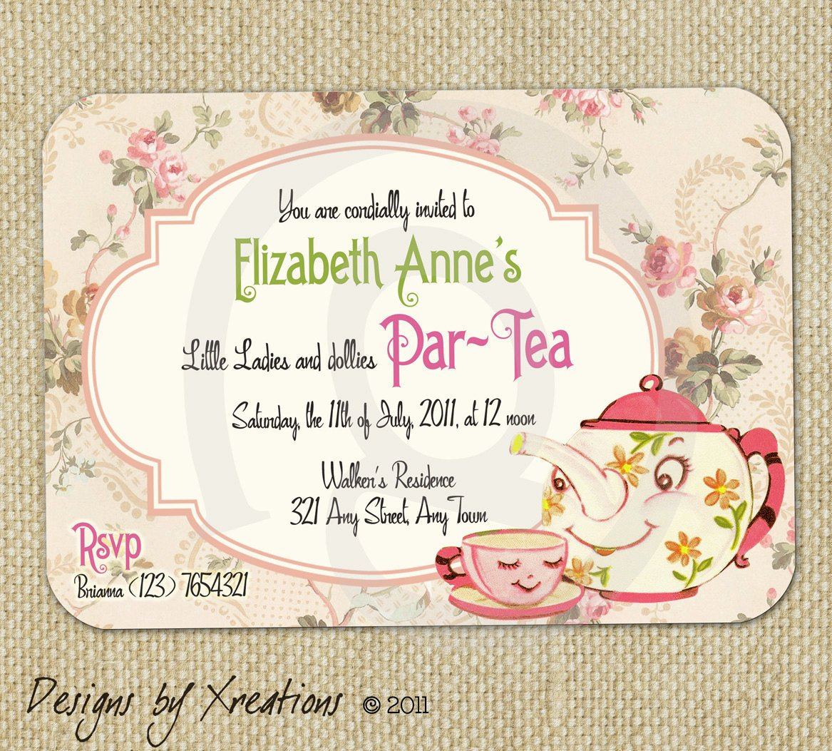 Tea Party Invitation Template Items Similar to Cute Vintage Tea Party Invitation Digital