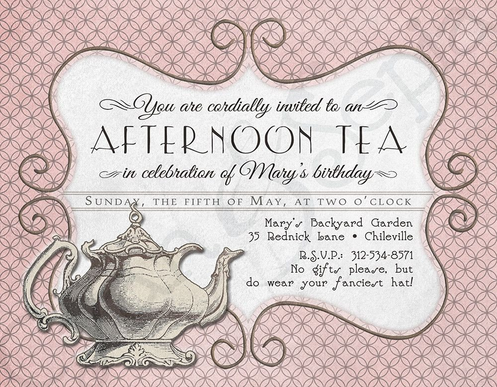 Tea Party Invitation Template Printable Tea Party Birthday Shower Invitation 4 25 X 5