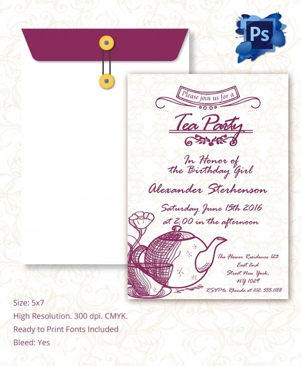 Tea Party Invitation Template Sample Invitation Template Download Premium and Free