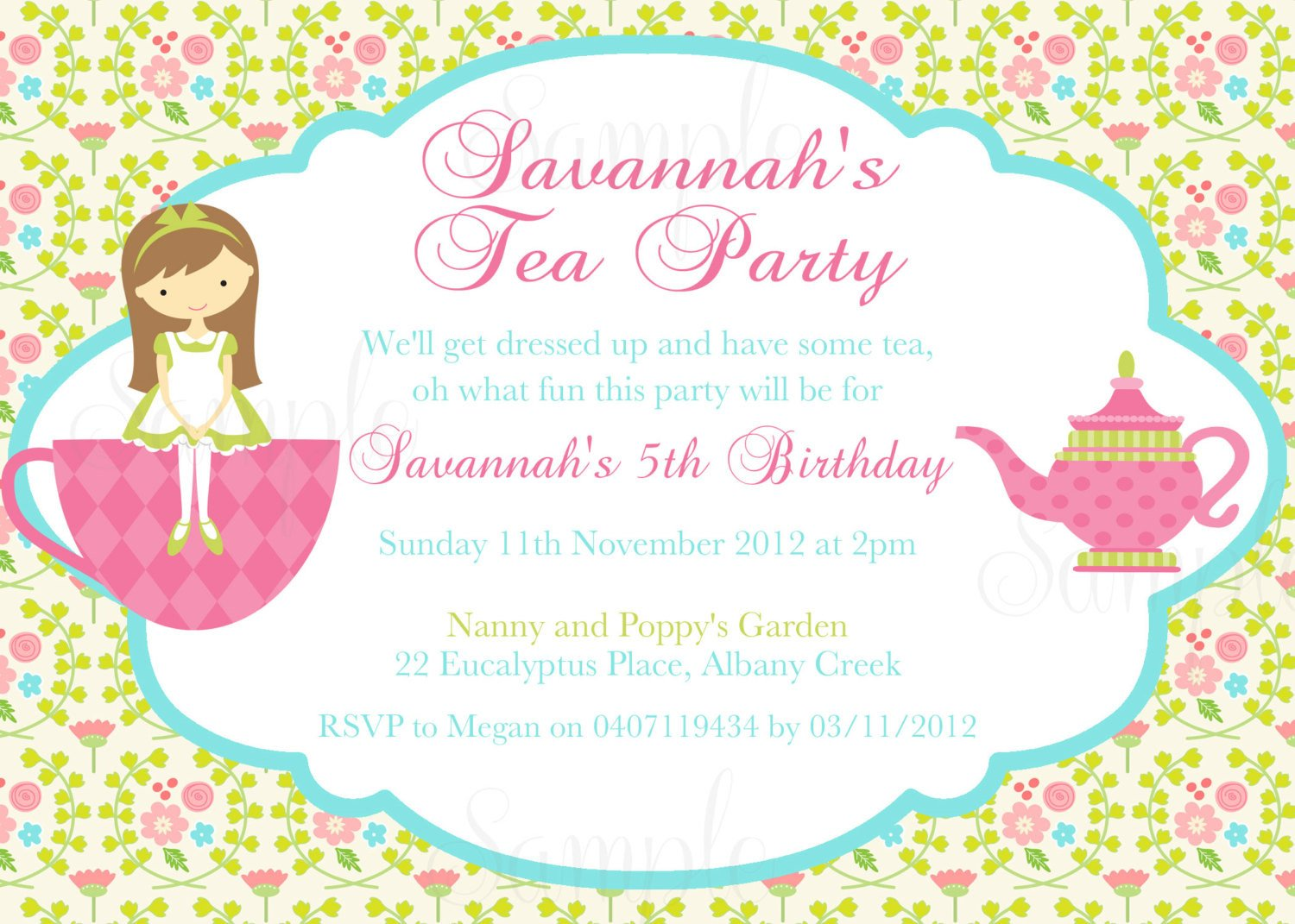 Tea Party Invitation Template Tea Party Birthday theme Printable Invitation and Gift Favor