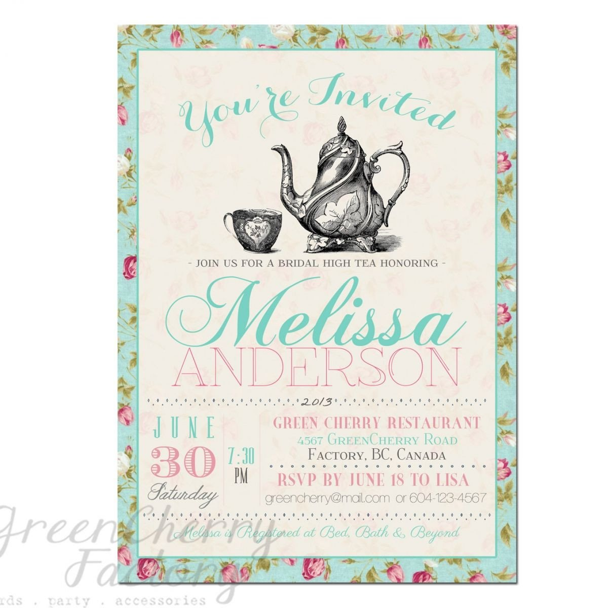Tea Party Invitation Template Tea Party Invitation Templates to Print