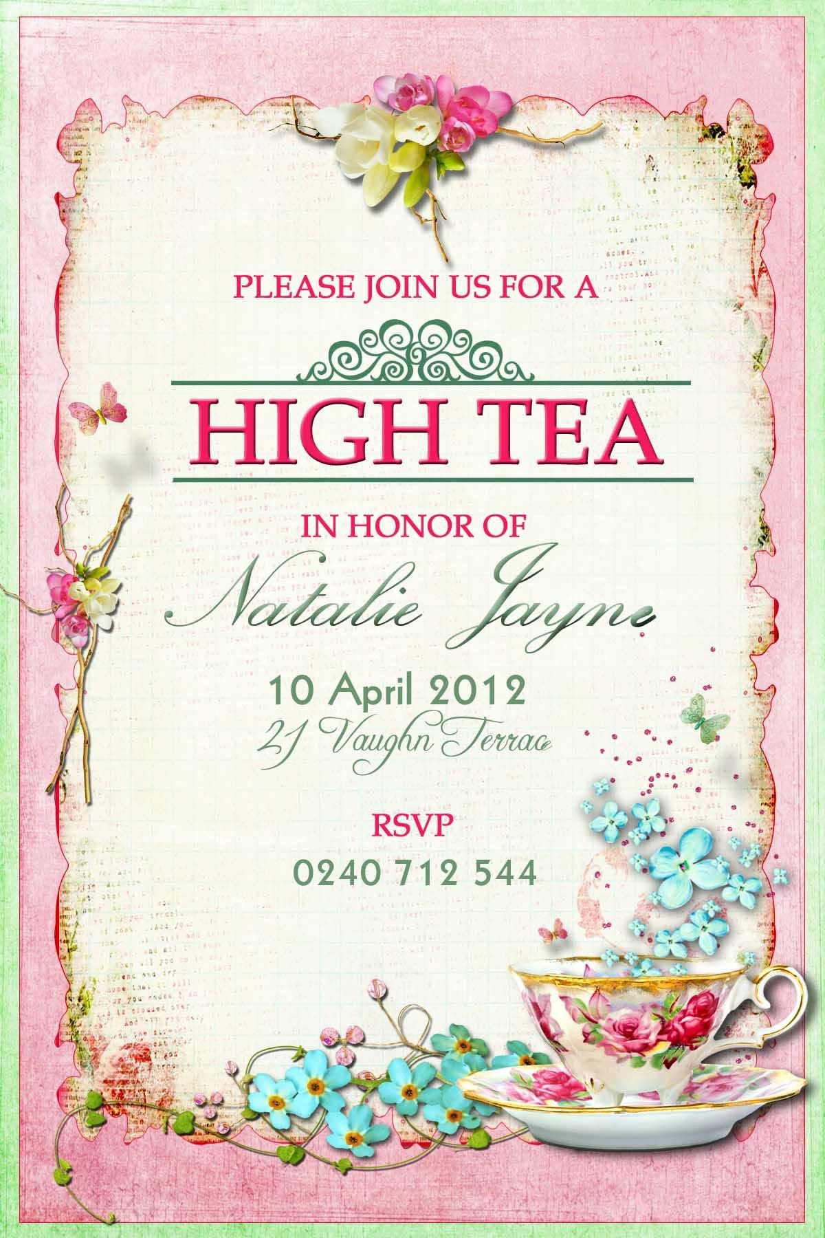 Tea Party Invitation Template Victorian High Tea Party Invitations Surprise Party