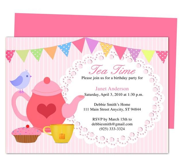 Tea Party Invitations Templates afternoon Tea Party Invitation Party Templates Printable