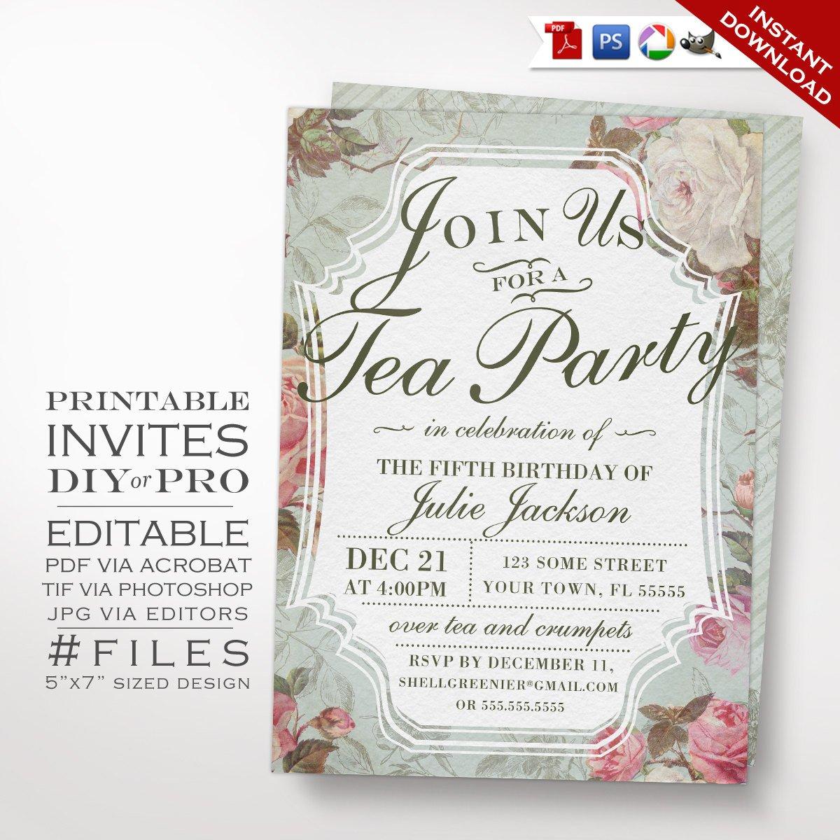 Tea Party Invitations Templates Birthday Tea Party Invitation Template Vintage Rose Tea