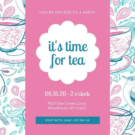 Tea Party Invitations Templates Customize 128 Tea Party Invitation Templates Online Canva
