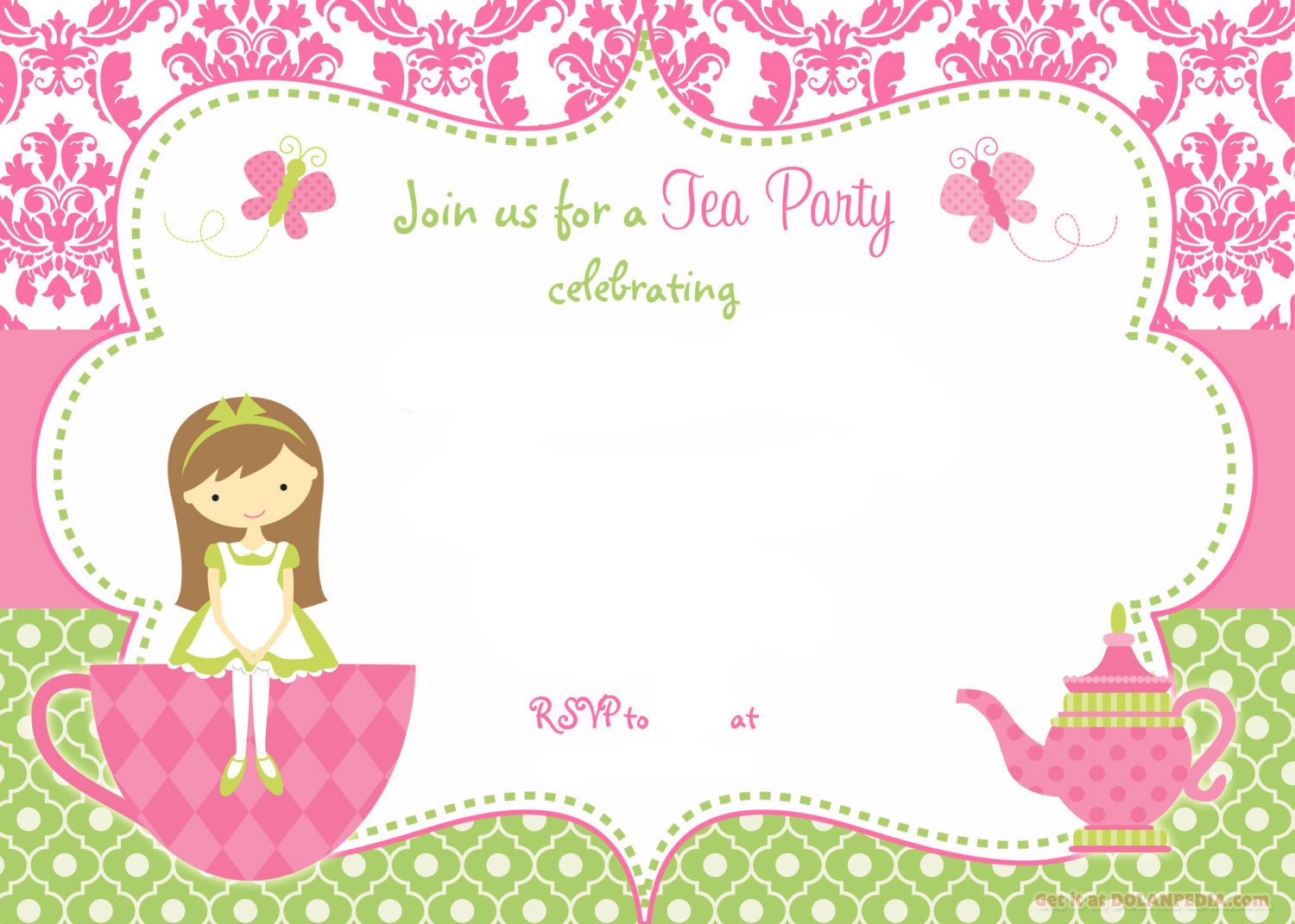 Tea Party Invitations Templates Free Printable Tea Party Invitation Template for Girl