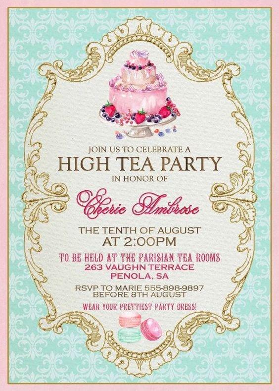 Tea Party Invitations Templates High Tea Invitation Template Invitation Templates J9tztmxz