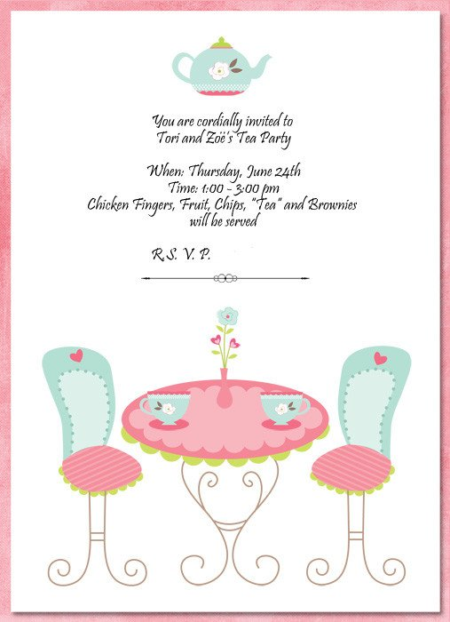 Tea Party Invitations Templates Hybrid Scrapbooking and More Invitations