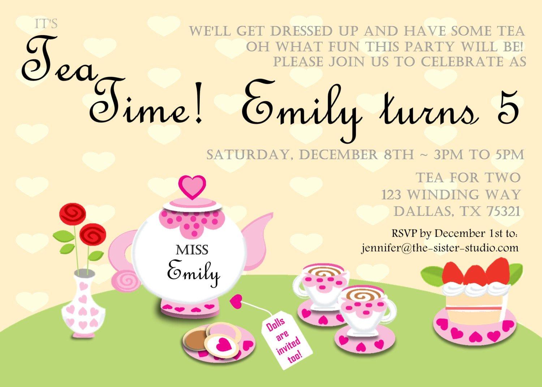Tea Party Invitations Templates Item Details