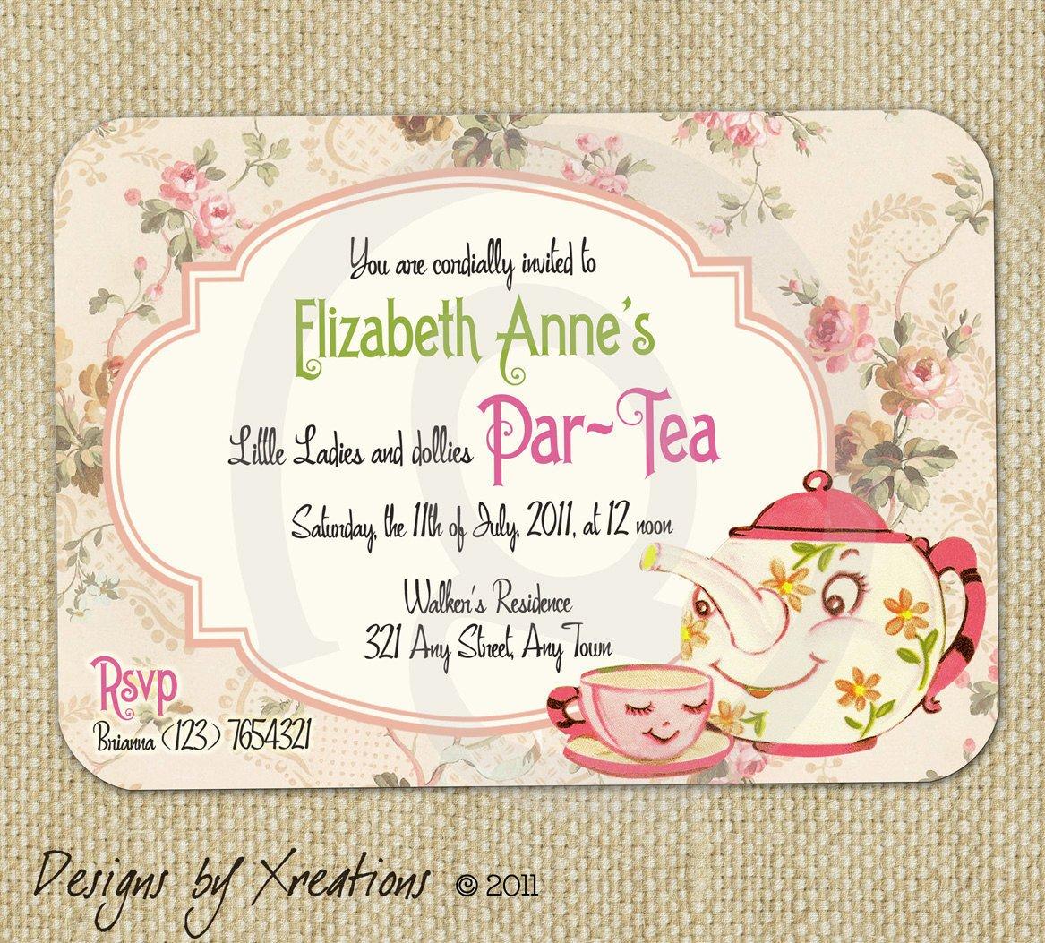 Tea Party Invitations Templates Items Similar to Cute Vintage Tea Party Invitation Digital