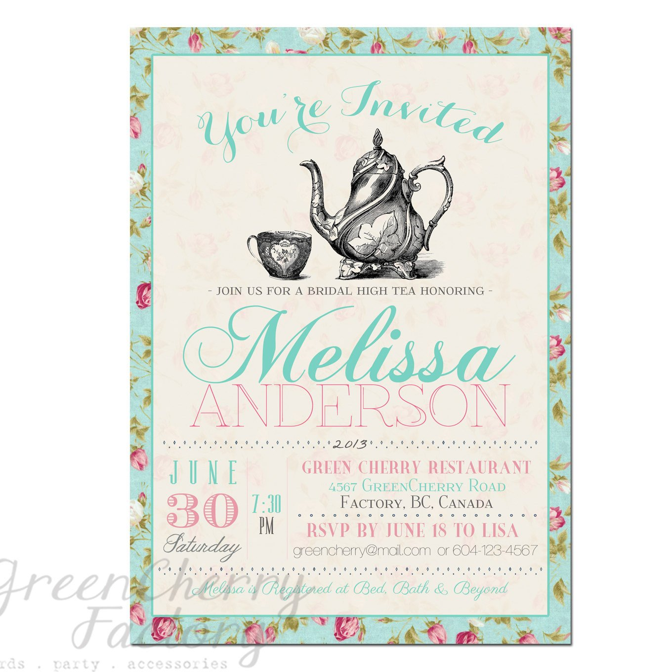 Tea Party Invitations Templates Items Similar to Tea Party Invitation Typography High