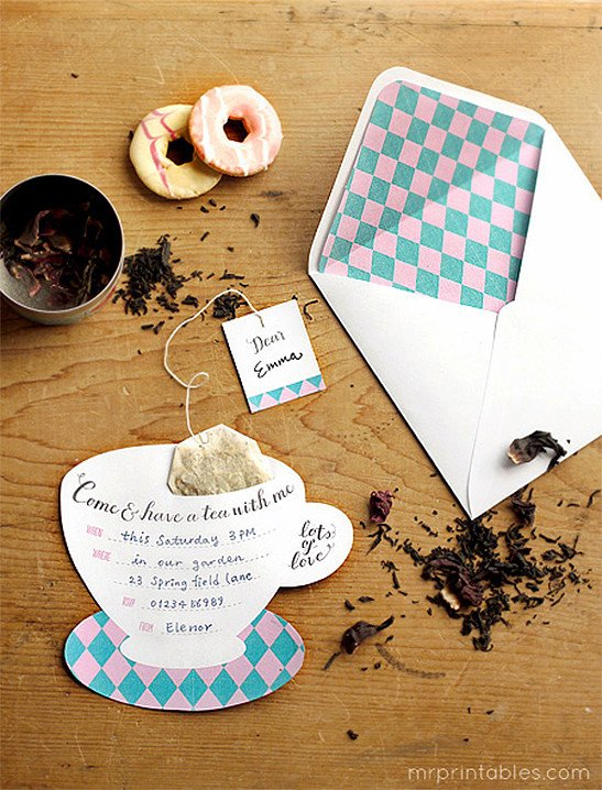 Tea Party Invitations Templates Printable Tea Party Invitations Mr Printables