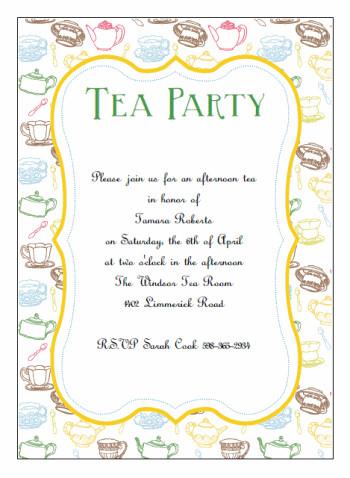 Tea Party Invitations Templates Printable Tea Party Invitations